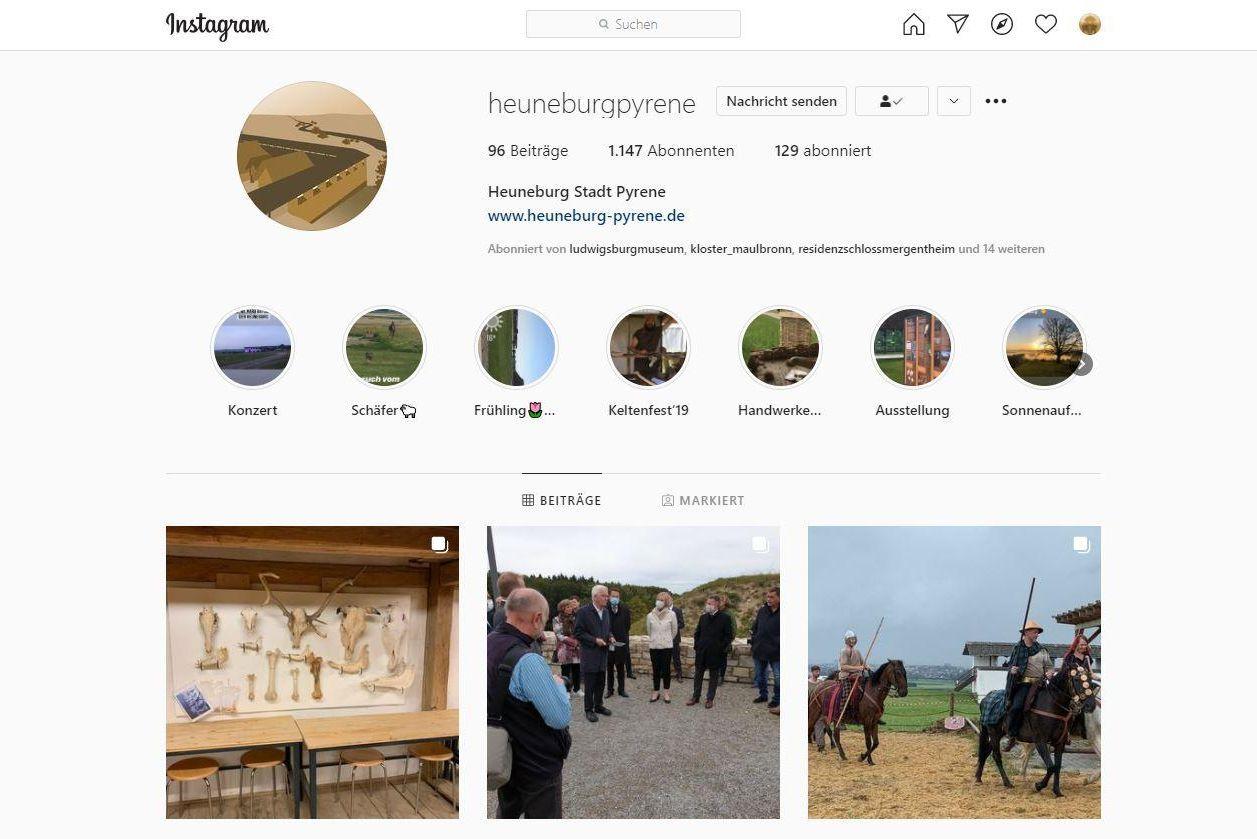 Heuneburg - Stadt Pyrene, Instagramseite
