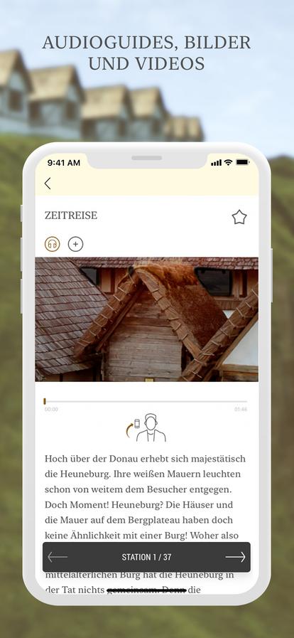 Startseite der Heuneburg-App auf einem Mobiltelefon