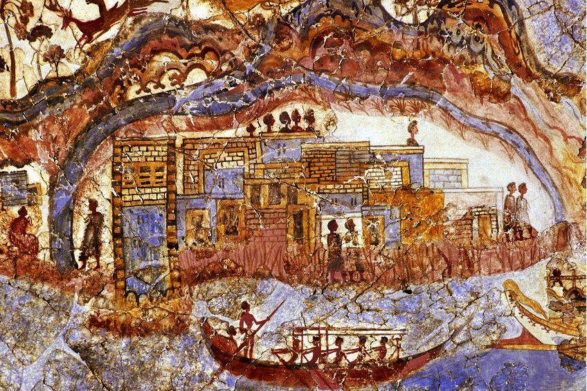 Schiffsfresco von Akrotiri Ausschnitt um 1600 v. Chr.