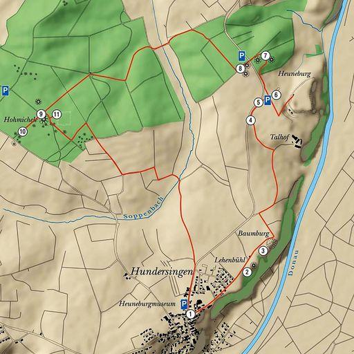 Heuneburg - Stadt Pyrene; Herbertingen Rundwanderweg Heuneburg