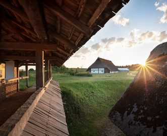 Heuneburg – Stadt Pyrene, rekonstruierte Wohnbauten