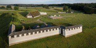 Rekonstruktion Lehmziegelmauer Heuneburg, Luftansicht